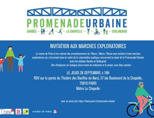 Marches exploratoires dans le cadre du projet de la promenade urbaine le 28 septembre
